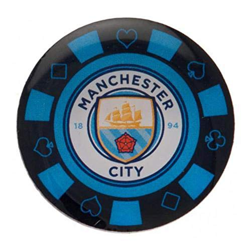 Manchester City Football Club Team Poker Chip Crest Metal Enamel Pin Badge Official