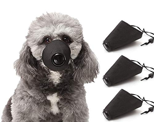 3 Pack Adjustable Dog Mouth Respirator Masks, Breathable Dog Muzzle Protective Mask, Anti-bite, Anti-Barking,Filter Air Pollutants Anti Fog/Anti Dust/Anti Secondhand Smoke,PM2.5 Anti Dust