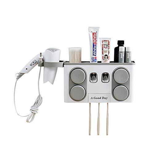NJZYB Automatische Zahnpasta-Zufuhr, Multifunktions Wand- Zahnbürstenhalter, Zahnbürste Organizer mit 4 Becher & 4 Pinsel Slots, Haartrockner Regale, für Badezimmer,Grau