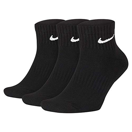 NIKE U NK Everyday Cush Ankle 3Pr Calcetines, Hombre, Black/White, S