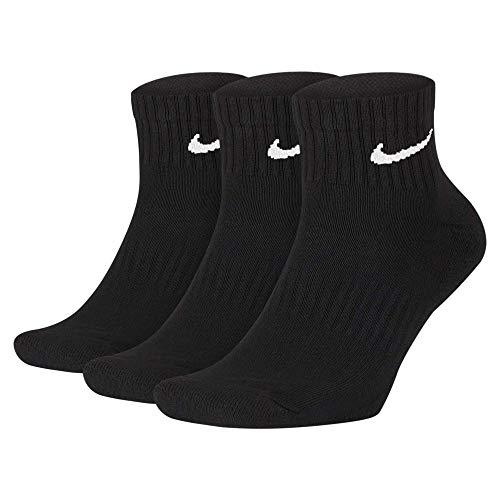 Nike U NK Everyday Cush QTR 3PR Socks, Hombre, Black/White, M