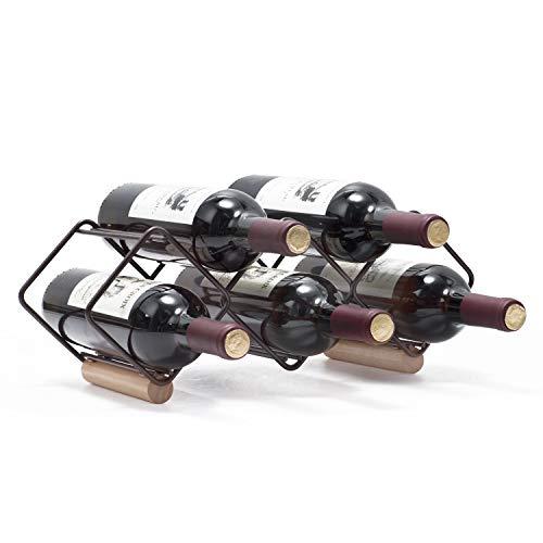 Kingrack - Botellero apilable horizontal para botellas de vino, soporte para botellas de vino de metal y cobre, soporte de almacenamiento libre, estante para 5 botellas de vino, listo para montar