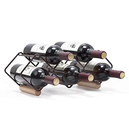 Kingrack, Weinregal, stapelbar, horizontaler Weinflaschenhalter, Metall-Kupfer-Weinhalter, freistehend, Tisch-Weinregal für 5 Flaschen, fertig montiert, einfach anzubringen