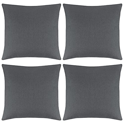 ANECO Pack of 4 Outdoor Waterproof Throw Pillow Covers Decorative Garden Cushion Cases Square Pillowcases for Patio, Couch, Tent, Balcony and Sofa, 18 x 18 Inches, Dark Grey