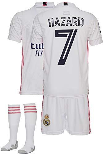 AMD SPORTS Madrid Camiseta para niños Hazard Viene con Pantalones Cortos y Calcetines, edición hogar Tallas para niños (3-14 años)…… (Hazard Home, 128)