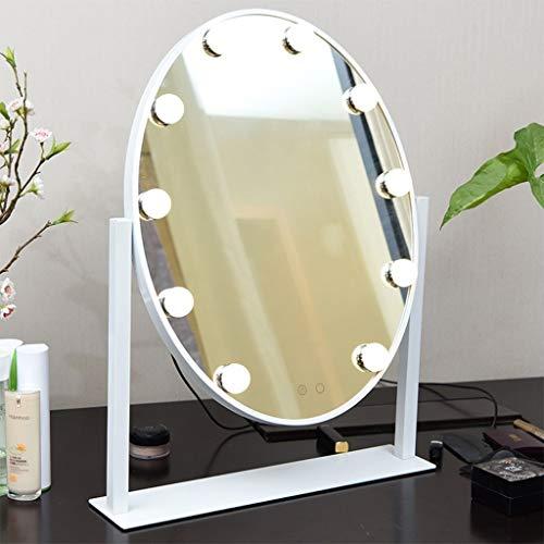 QXHELI spiegel ovaal met LED-lamp, groot formaat, desktop touch dimming verband, spiegel zilver enkele kant inklapbare spiegel (kleur: zwart)