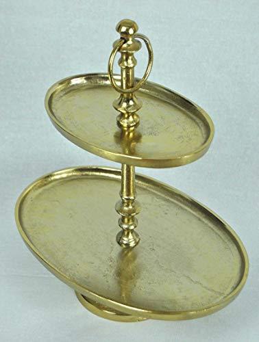 crafts & design Etagere oval 2 Etagen, Aluminium Gold rau Finish, 29x19,5x34cm