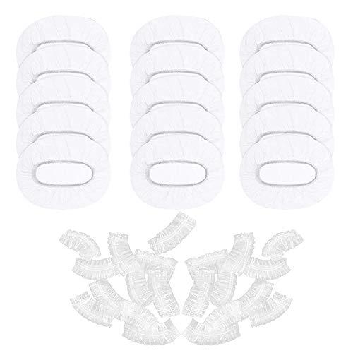 JUN-H 100 Tapones para Orejas Desechables de Plástico Transparente, resistentes al Agua, Protección Auditiva, Orejeras Elásticas, para la Ducha, el Pelo, el Salón