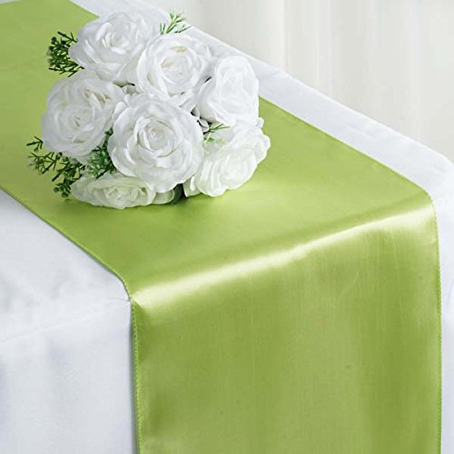 """Efavormart Premium Satin Table Top Runner for Weddings Birthday Party Fit Rectangle and Round Table 12"""" x 108"""" Sage Green"""