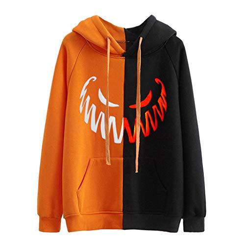 Save %46 Now! Goddesslili Womens Tops, Evil Pumpkin Printed Womens Halloween Long Sleeve Shirts Pull...