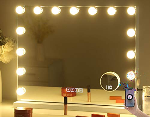 Hansong Large Vanity Makeup Mirror with Lights,Bluetooth Hollywood Lighted Dressing Tabletop Mirror&Wall Mounted Beauty Mirrors with 15 pcs Led Bulbs,Detachable 10X Magnification Spot Cosmetic Mirror