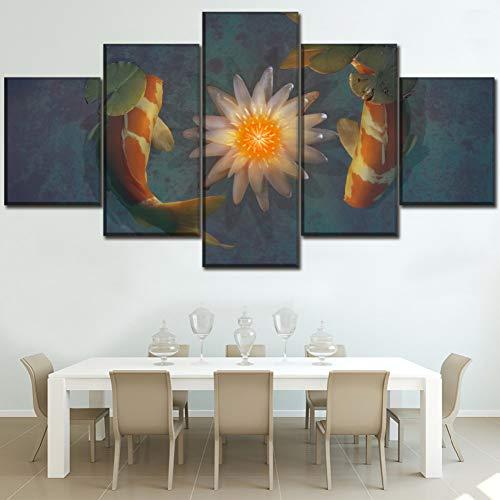 JFASJ 5 Leinwandbilder Leinwand HD druckt Poster Wohnzimmer Wandkunst Dekor 5 Stück künstlerischen Lotus und Tierfisch Koi Gemälde Home Decor