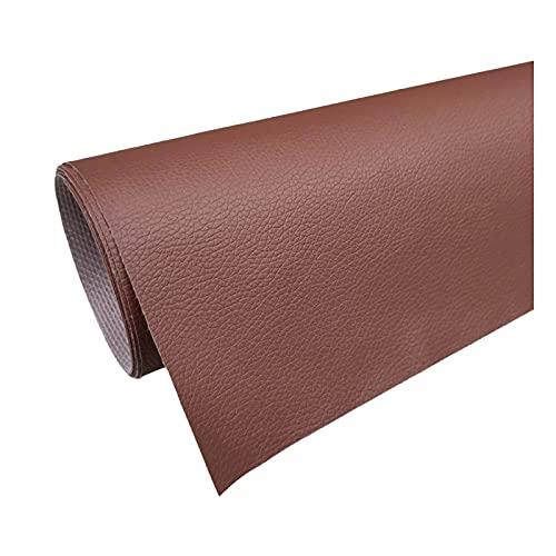 PVC Kunstleer Stof Kunstleer Litchi Patroon voor Doe-Het-Zelf Naaiwerk Bankreparatie Knutselprojecten - 1 Stuk = 100Cm X160cm) - Chocolade Kleur,1.6x3m