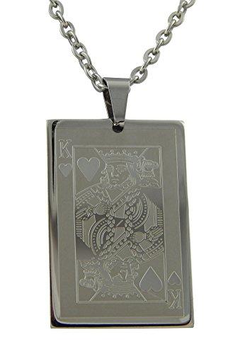 Hanessa sieraden voor mannen roestvrij staal heren halsketting spel hart koning poker skat zwart jackkaart cadeau voor Kerstmis voor vriend/man