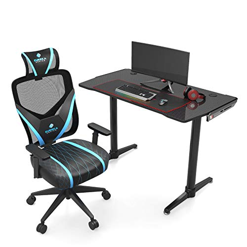 EUREKA ERGONOMIC Gaming Desk and Chair Set, 43.3in Home Office Computer Table with Mouse Pad & Video Game Chair, Home Office Chair