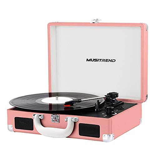 MUSITREND Tocadiscos de Vinilo con Bluetooth, Tocadiscos Vintage de 3 Velocidades con Altavoces Incorporados, para Discos de Vinilo de 7/10/12 Pulgadas, AUX/RCA, Rosa