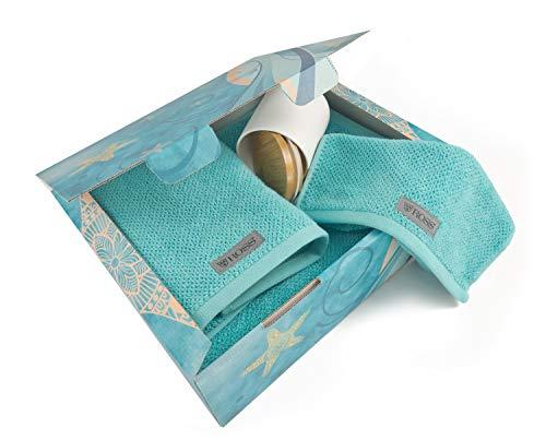 Direkt-Stick.de Handtuch Geschenkset, luxuriöses Frottee Set, Duschtuch Gästehandtuch Badetuch, Geschenk für Männer und Frauen, Geschenkidee Geburtstag Weihnachten