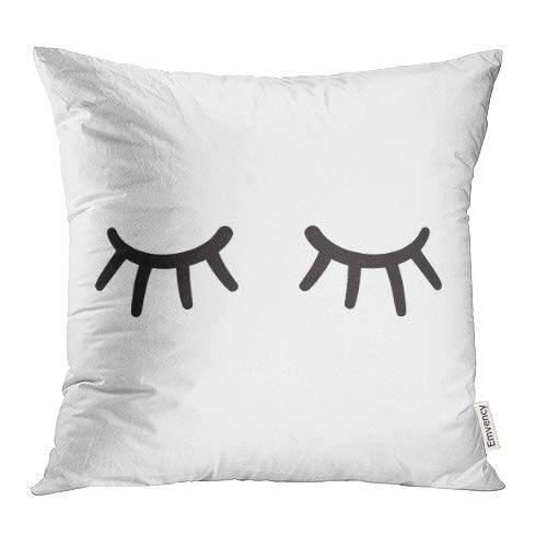 Emvency Throw Pillow Covers Decorative Black Lash Eyes Closed Lases Hand Drawn White Close Cartoon Eyelash Wink Eyelid Girl 16x16 Inch Sofa Durable Cushion Pillowcase Square Two Sides Print