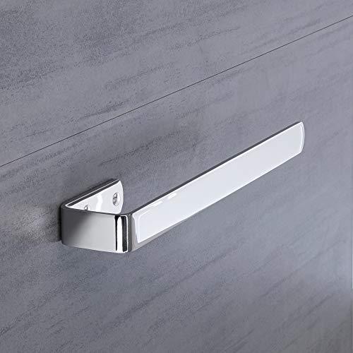 Gedotec PELI - Toallero de diseño para baño (cromo pulido, longitud: 340 mm, montaje en armario, barra lateral para atornillar, 1 unidad), soporte para toallas con material de fijación
