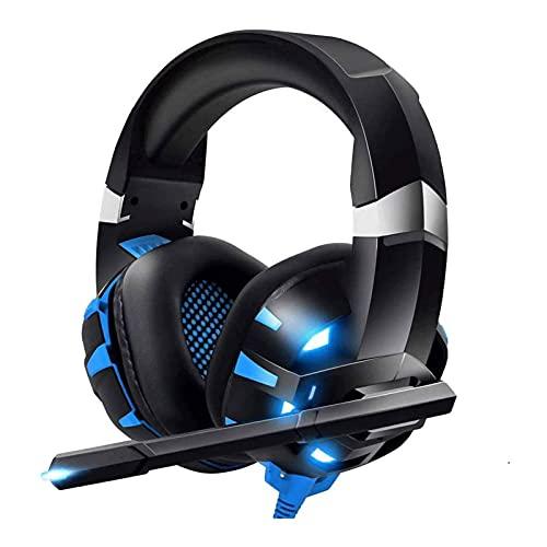 SFLRW Gaming Headset, 4D surroundljud Miljöbrus Avbryta mikrofon och LED Light Over-Ear-hörlurar Kompatibel med PC, PS4, PS5, Switch, Controller, Laptop, Mac