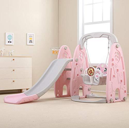 LWTOP Kinderrutsche, Kombination Innen Zuhause Kindergarten Baby-Außenmultifunktionsplastik Rutsche Schaukel,Rosa