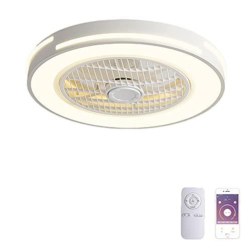 VOMI Cuarto de Los Niños Ventilador de Techo con Luz Regulable LED 36W con Mando a Distancia Silencio Metal Lámpara de Ventilador Invisible Delgada Ventilador para Cuarto Sala Restorán,Blanco
