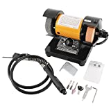 3' Multipurpose Mini Bench Grinder Polisher with 31' Long Flexible Shaft and Accessories, Variable Speed Dial 0-10000 RPM, 110V 150W Single Phase Motor