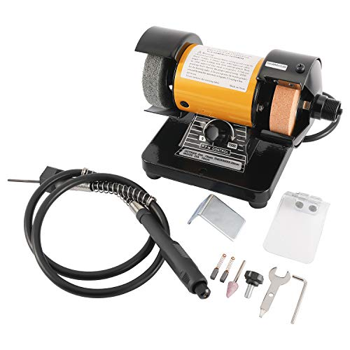 "3"" Multipurpose Mini Bench Grinder Polisher with 31"" Long Flexible Shaft and Accessories, Variable Speed Dial 0-10000 RPM, 110V 150W Single Phase Motor"