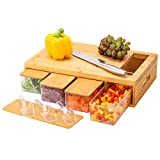 MJM Bamboo Cutting Board with Tray, Wood Chopping Board with Container, Wooden Carving Board with Drawer, with Juice Drip Groove, Easy to Grip Handle, Slide Opening, 4 Bonus Scoop, lids include