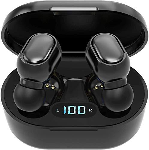 Auriculares inalámbricos Bluetooth 5.0 con caja de carga, micrófono integrado, control táctil, 40 horas de duración, sonido estéreo HD 3D para iOS y Android (B3)