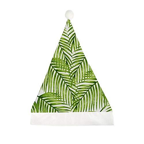 Mesllings eenvoudige groene tropische planten palmbomen bladeren gedrukt kerst grappige partij hoed vakantie hoeden kerstmuts geschenken voor unisex volwassenen 50x35cm