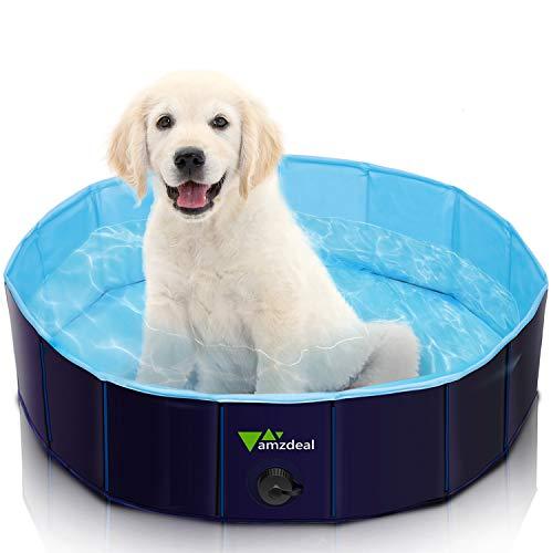 amzdeal Hundepool Schwimmbad - Faltbares Doggy Pool, 100% Umweltfreundliche PVC, rutschfest Schwimmbad für Hunde und Katzen, Hunde Planschbecken für Indoor und Outdoor geeignet, 80 × 20 cm