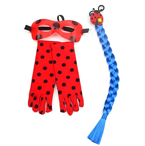 furein Kit Trenza Sintética Azul / Guantes y Antifaz para Disfraz Personaje Ladybug Modelo Talla Única para Mujer (52058)