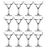 Set of 12 Large Margarita Cocktail Glasses - 260ml Capacity - Fully Tempered Long Stem Glasses, Dishwasher & Freezer Safe.