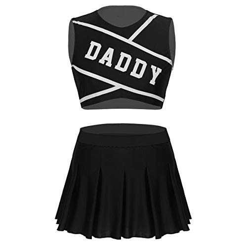 Freebily High School Cheerleading Kostüm Jubeln Mädchen Uniform Damen Party Outfit Cosplay Kostüm Crop Top + Mini Faltenrock Schwarz Small