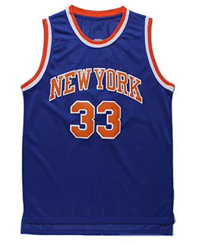 Retro Basketball Trikot New York Knicks Herren Ärmelloses Netz T-Shirt Sport Top Basketball Kleidung-Blue-XL