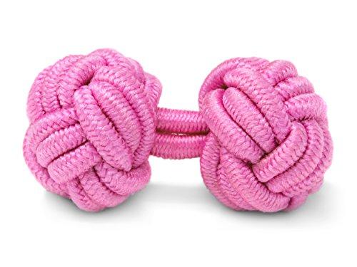 THE SUITS CREW Manschettenknöpfe Seidenknoten Herren Damen Nylon Stoff | Cufflinks Silk Knots für alle Umschlagmanschetten Hemden | Einfarbig (Rosa)