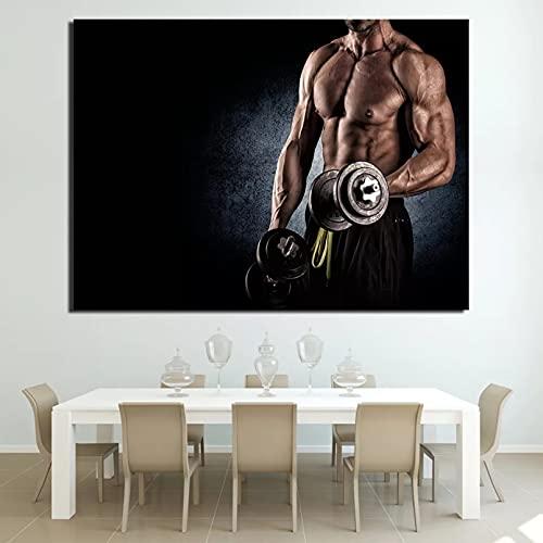 Yueyu Pintura Decorativa en Lienzo Decoración Arte de la Pared Impresión de la Lona Pinturas al óleo HD Muscle Fitness Gym Dumbbells Home Living Room Decor Modern Artwork-50x70cm
