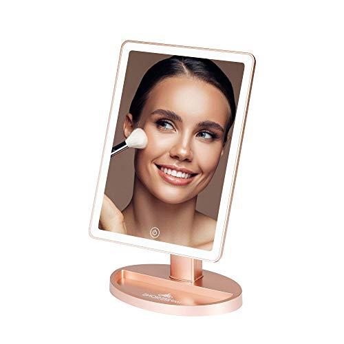 Impressions Touch Ultra Espejo de maquillaje con luces LED regulables, espejo de tocador de pie con sensor táctil y doble sistema de energía (oro rosa)