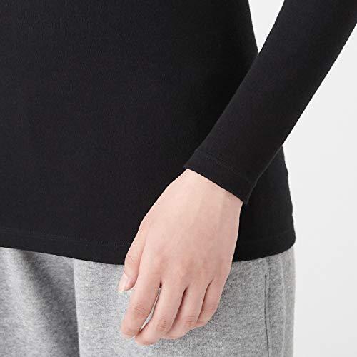 無印良品綿とウールで真冬もあったかハイネック長袖TシャツS黒4550182377408