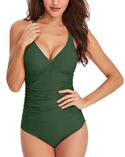 Traje de Baño Una Pieza para Mujer, Morbuy Verano Sexy Cuello en V Cintura Alta Bañador de Mujer Elegante Talla Grande Bikini Hombro Ajustable Ropa de Baño con Relleno (M,Verde Militar)