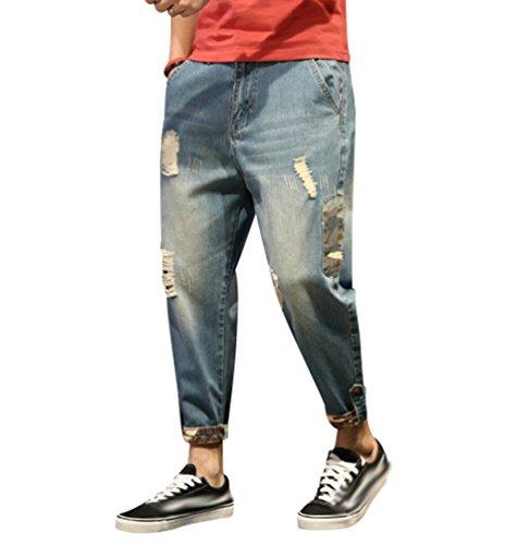 Yiiquan Jeans Uomo Strappati Lavato Pantaloni in Denim Uomini Straight Pantaloni Jeans Moda Stile 4 34