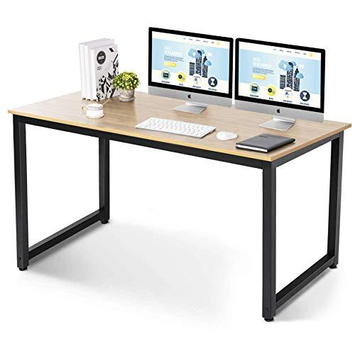 UMINEUX Escritorio de computadora de 137 cm mesa de estudio para oficina en casa, estilo moderno y simple con marco de metal resistente (natural)