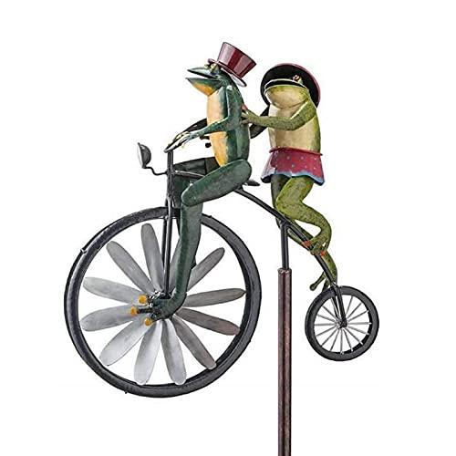 ZECAN Spinner De Viento De Metal De Bicicleta Vintage, Spinner De Estaca De Jardín con Poste De Pie, Spinner De Bicicleta De Animal para Decoración De Molino De Viento (A)