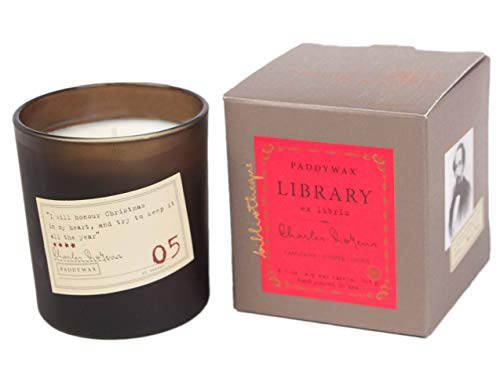 Paddywax Library Collection Charles Dickens Scented Soy Wax Candle, 6.5-Ounce, Tangerine, Junpier & Clove