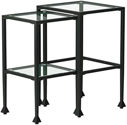 Best 2-piece Glass and Metal Nesting Tables Black