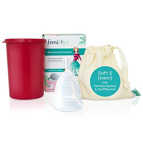 Wiederverwendbare Menstruationstasse Medizinisches Silikon von FemiOpt für nachhaltige Monatshygiene I Menscup Menstruationsbecher Silikon Tasse Menstruation Cup mit Reinigungsbecher SOFT Größe S