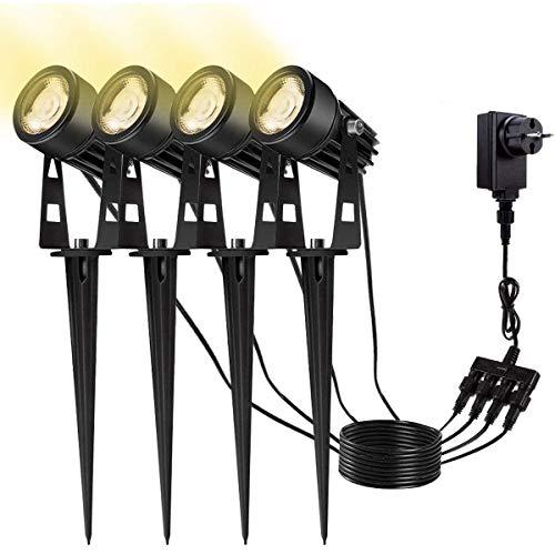 4 in 1 Gartenleuchte B-right 4er Pack Gartenbeleuchtung Außenleuchte mit erdspieß, LED Gartenstrahler mit stecker, Warmweiß, 4 * 3W, 1080 Lumen, Wasserdicht Gartenlicht Gartenlampe Spotbeleuchtung