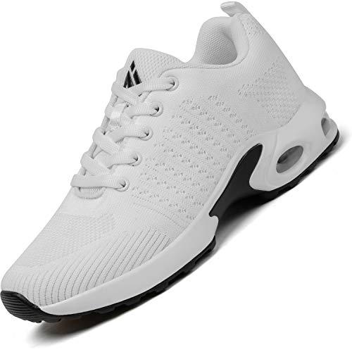 Mishansha Air Zapatos de Correr Mujer Respirable Zapatillas de Running Femenino Antideslizante Calzado Casual Sneakers Caminar Blanco, Gr.41 EU