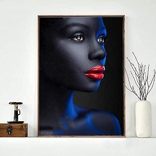 IOIP Lienzos De Fotos 40x60cm Sin Marco Póster Abstracto Impreso Mujer Negra Sexy Labios Rojos Retrato de niña Imagen Impresa para decoración del hogar de la habitación